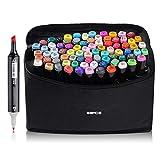 JXLOULAN 80 Farbige Graffiti Stift Fettige Mark Farben Marker Set,Twin Tip Graffiti Pens für Kunstler Sketch Marker Stifte Mit