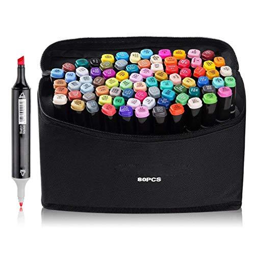 80 couleurs marker pen marqueurs à double pointes marqueur graphique art deux pointes pinceau croquis peints à la main conception d'animation série avec sac