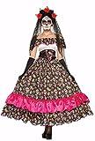 shoperama Day of The Dead Dama española Disfraz para Mujer con Calaveras México–Vestido Largo