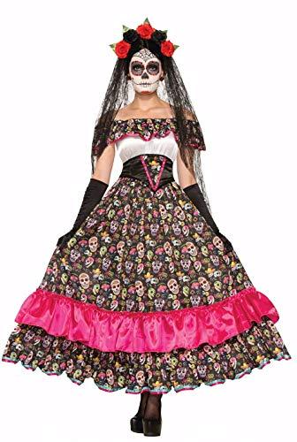Day of the Dead Spanierin Damen-Kostüm mit mexikanischen Totenköpfen - LANGES KLEID, Größe:S/M