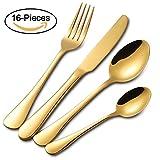 Buyer Star Gold Besteck Set, 16 Stück Edelstahl Besteckset, Geschirr Service für 4 Personen, Messer und Gabeln Sets