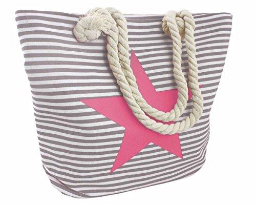 Seil, Stoff Handtaschen (Sonia Originelli Strandtasche Stern Lena Beachbag Tasche Bag Streifen Maritim Farbe Grau-Rosa)