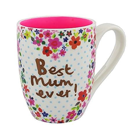Best Mum Ever Mug Gold Text on a Pretty Floral