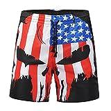 JYJM Beiläufige Schädel-Flagge der Männer Druckte Strand-Arbeits-zufällige Männer-Kurzschluss-Hosen-Kurze Hosen(Schwarz Size:L2)