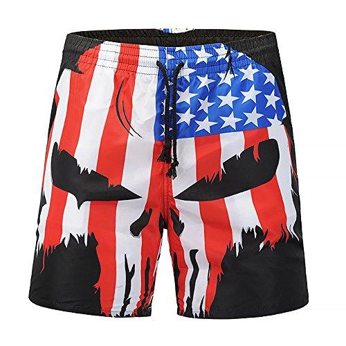 MAYOGO Amerika Flagge Druck Midi Beachshorts Boardshorts Strand Shorts Badeshorts Badehose USA Independence Day Flag Schädel 3D Print Männer Lässige Shorts