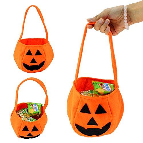 Kürbis Tasche  eingewebtem dreidimensionale Tote von Sunshine D Trick Kürbis Candy Tasche für Kinder Halloween Kostüme orange