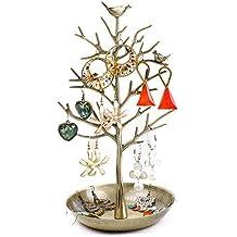 YOEEKU Aves Caja de la joyería Expositor para joyas Organizador diseño de árbol pendiente del collar sostenedor del soporte de almacenamiento (azul antigua)