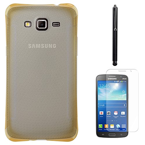 DMG Ultra Thin Flexible TPU Extra Protection and Grip Back Cover Case For Samsung Galaxy Grand 2 G7102 (Golden) + Matte Screen + Stylus