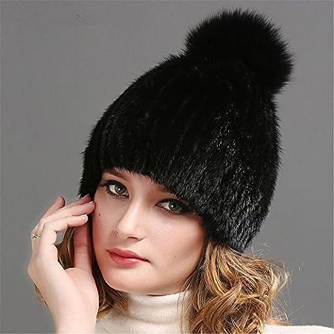 XMQC*Verdadera mujer invierno sombrero con pieles de visón real sombrerería Tuque Beanie