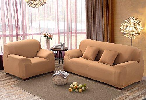 Sofa Bezug 1234-Sitzer-Stoffüberwurf, Schonbezug, elastischer Überwurf für Sofa, Sessel, Couch zum Schutz, Farbe: pure, camel, 4 Seater:235-300cm