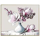 HAJKSDS Malen Nach Zahlen Ölfarbe Malen Nach Zahlen Kit DIY Handgemaltes Zeichnen Nach Zahlen Digital Magnolia Blumenkunst Dekoration