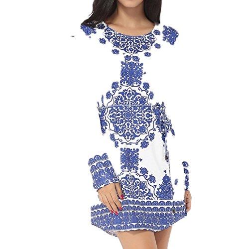 GBT Sommer Blaues Und Weißes Langärmeliges Kleid Weiß
