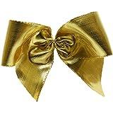 Schleifen Dekoschleifen Fertigschleifen mit Klebepunkt aus Laméband 10 Stück (90x60mm, gold)