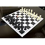 StonKraft 17'' x 17'' Tournament Chess Vinyl Foldable Chess Game with Solid Plastic Pieces (with Extra Queen) - Ideal for Professional Chess Players, Black
