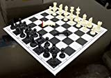 StonKraft 17'' x 17'' Tournament Chess Vinyl Foldable Chess Game With Solid Plastic Pieces (With Extra Queen) - Ideal for Professional Chess Players