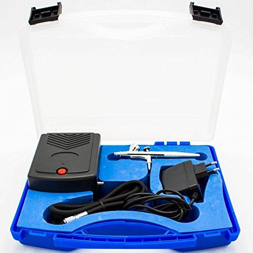 Preisvergleich Produktbild Airbrush Kompressor Koffer Set AS-200, Airbrushpistole Double Action, Textilschlauch