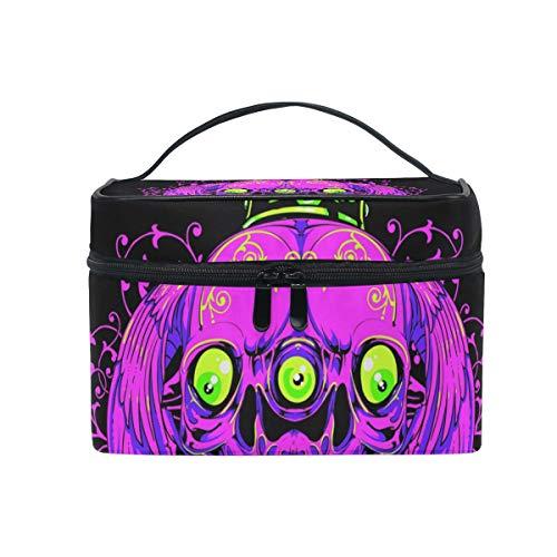 Make-up Kosmetiktasche Halloween Drei Augen Schädel Kürbis Portable Storage mit Reißverschluss (Auge Reißverschluss Halloween-make-up)