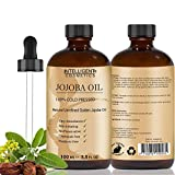 Organic Golden Jojoba Oil 100% Cold Pressed, Pure, Unrefined, Extra Virgin 100ml, Beneficial for Face Skin Body Hair, Best Known Oil for Sensitive & Acne Prone Skin, in Glass Bottle with Pipette, NEW