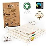 dear roots  Wiederverwendbare Obst- und Gemüsebeutel | 100% GOTS + Fairtrade Bio Baumwolle | Gemüsenetze...