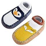 Baby Socken Neugeborene Socken Set Herst Winter Hüttensocke Warm Krabbelschuhe Dicke Hauschuhe Mit Anti-rutsch Ledersohle Blau 18-30 Monaten
