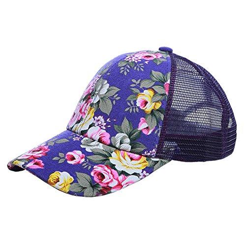 ZYHstore Damen Mädchen Blumen Muster verstellbar Mesh Baseball Kappe Mütze Snapback Cap Hip-Hop Stil Baseballmütze Sportmütze Mützen