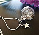Joyería del día de la madre Collar del diente de león Dijes de estrella En plata de ley 925 con Caja de Regalo personalizado cadena Y amuleto Colgante de cristal regalo de cumpleaños para niñas