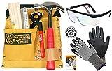 Kinder-Werkzeug-Set mit Werkzeuggürtel 01 + Zubehör, Schutzbrille und Handschuh Schnitthemmend GR. 6-S 3er Set Corvus