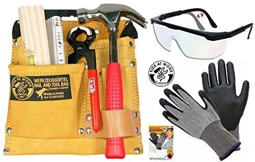 Preisvergleich Produktbild Kinder-Werkzeug-Set mit Werkzeuggürtel 01 + Zubehör, Schutzbrille und Handschuh Schnitthemmend GR. 6-S 3er Set Corvus