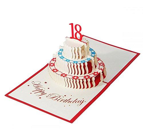 18. Geburtstag - Klappkarte / 3D Pop-Up Karte - Torte als Geburtstagskarte, Geldgeschenk, Grußkarte, Glückwunschkarte, Gutschein-Karte, Dankeskarte, Geschenkkarte, Geburtstagstorte