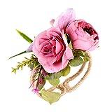 Romantic Simulation Rose Bracelet Flower Wedding Supplies (A, Cloth+Metal iron)