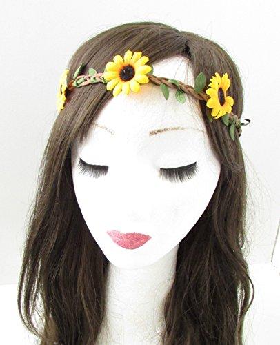 Stirnband mit gelben und orangen Sonnenblumen und Gänseblümchen, Garland Boho-Festival, Hippie-Stil B11 (Sonnenblumen-blütenblatt Stirnband)