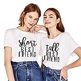 Shirt für Zwei Mädchen Firends Shirts Freundin Freunde Tops Freundschaft Geburtstagsgeschenk 2 Stücke T-shirz Tumblr Sommer Tops(Weiß+Weiß,Short-XS+Tall-XS)