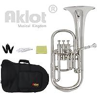 Aklot intermédiaire EB Nickel Alto Corne Embouchure Plaqué argent en acier inoxydable avec étui de piston pour l'éducation musicale