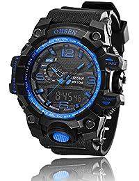 Hombre analógico Digital deporte reloj de cuarzo multifunción alarma cronógrafo día fecha 50m resistente al agua, color azul