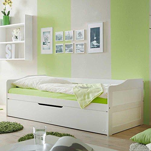 Jugendbett mit Gästebett Weiß Pharao24