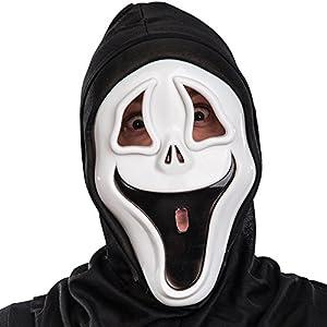 Carnival Toys - Máscara fantasma de plástico duro con capucha en bolsa con encabezado, color blanco (787)