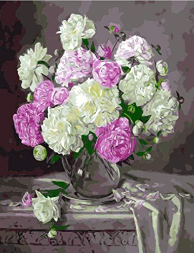 LPFLF Pflanze Blume Kinder DIY Digitale malerei Wohnzimmer Sofa Wand handgemalte Farbe dekorative malerei verdickung Rahmen landschaftsmalerei 40 * 50 cm (Pflanzen Maßnahmen)