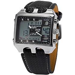 OHSEN Digital LCD Mens Date Alarm Men Black Analog Quartz Sport Wrist Watch OHS033