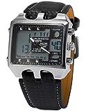 OHSEN OHS033-Orologio da polso uomo,Cuoio,digitale LCD,Datario Sveglia,colore:nero