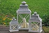 Laterne, Windlicht Brighton 3er Set, im Antik Stil, mit Holzrahmen, Höhe ca. 35 cm, 49 cm und 70 cm