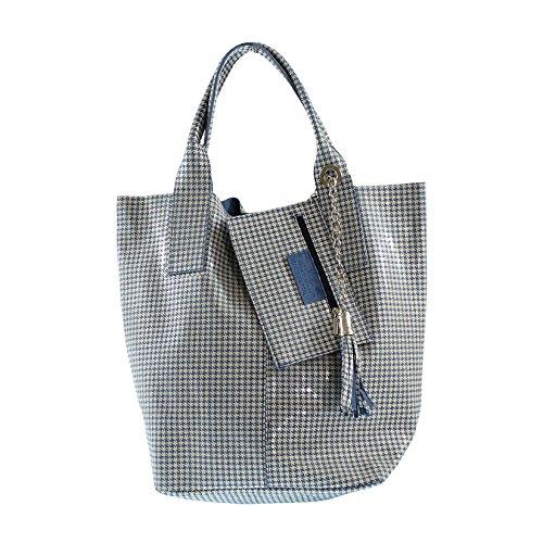 CTM Sac à main, sac fourre-tout de la femme avec des motifs géométriques, en cuir véritable italien made in Italy 26x36.5x19 Cm
