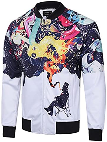 Pizoff Unisex Luxury Hip Hop smooth lightweight nylon bomber jackets MA-1 with Colorful Star Graffiti Peacock Tiger Eye Puzzle farbkleks Print