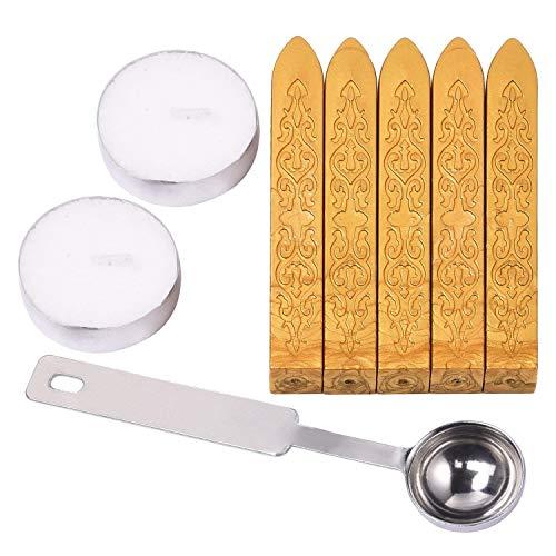 5Stück Manuscript Siegelwachs Sticks (leitet ausgeschlossen) mit Löffel und 2Stück Kerzen für umhült Porto Buchstabe (Gold)