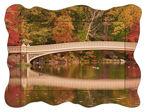 Park Central Hotel Nyc (Artland Modell-Rahmen Wand-Bild gerahmt mit Motiv EastVillage Images Panorama von Herbstfarben an der Bow Bridge im Central Park. New York City Landschaften Wald Foto Bunt 60,4 x 80,9 x 1,6 cm A7QZ)