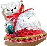 Katze Kätzchen weiß rot Weihnachtskugel Christbaumschmuck Glas mundgeblasen handbemalt