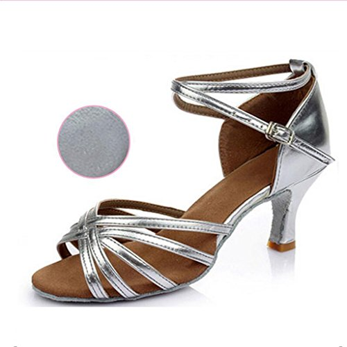 Jingsen Damen Latin Tanzschuhe Ballroom Dance Schuhe 5,5 cm Flared Heel Latin Kleid Schuhe Salsa Hochzeitsschuhe (Farbe : D, Größe : 37)