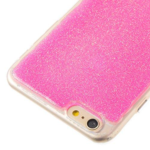 iPhone 6 Plus/6S Plus Coque avec Poudre Bling Intérieur, Voguecase TPU avec Absorption de Choc, Etui Silicone Souple Transparent, Légère / Ajustement Parfait Coque Shell Housse Cover pour Apple iPhone Rosé