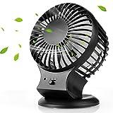 Ventilateur USB, Mture Mini Ventilateur de Bureau silencieux Portable Mini Fan [2 Mode vitesse] 360°Compatible pour PC ordinateur portable, Noir