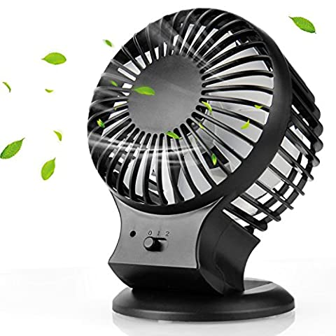 USB Ventilator, Mture Mini Ventilator Tischventilator Portable Mini Tisch-Ventilator USB Fan mit Doppelklinge, 2 Geschwindigkeit und einstellbar Winkel Desktop Fan für zu Hause, Büro - (Geschwindigkeit Winkel)