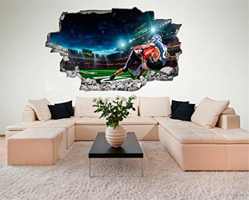 Football USA 3D Look Wandtattoo 70 x 115 cm Wanddurchbruch Wandbild Sticker Aufkleber DesFoli © C605 (Usa Aufkleber Wandtattoo)